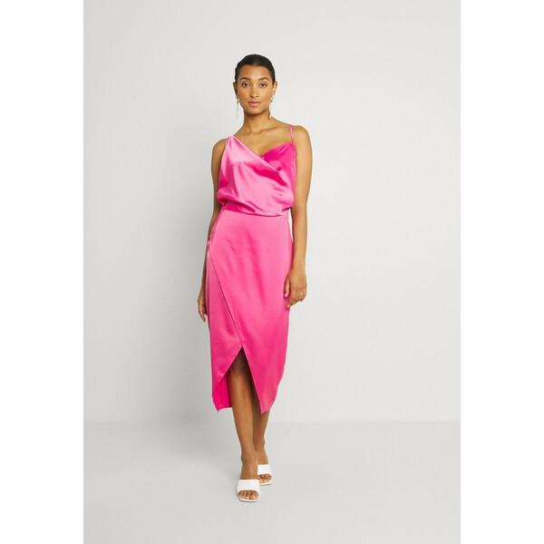 Missguided ASYM STRAP DRAPE MIDI Sukienka koktajlowa pink M0Q21C211