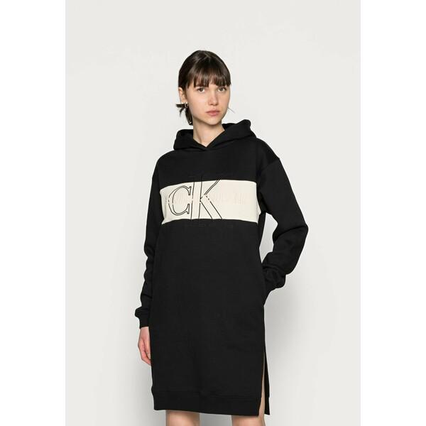 Calvin Klein Jeans MONOGRAM BLOCKING HOODIE DRESS Sukienka letnia black C1821C085
