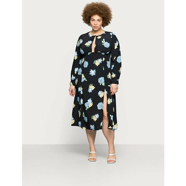 Glamorous Curve MIDAXI DRESS WITH PUFF LONG SLEEVES Sukienka letnia black GLA21C08H