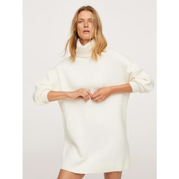 Mango Sukienka dzianinowa Taldora 17085922 Biały Regular Fit