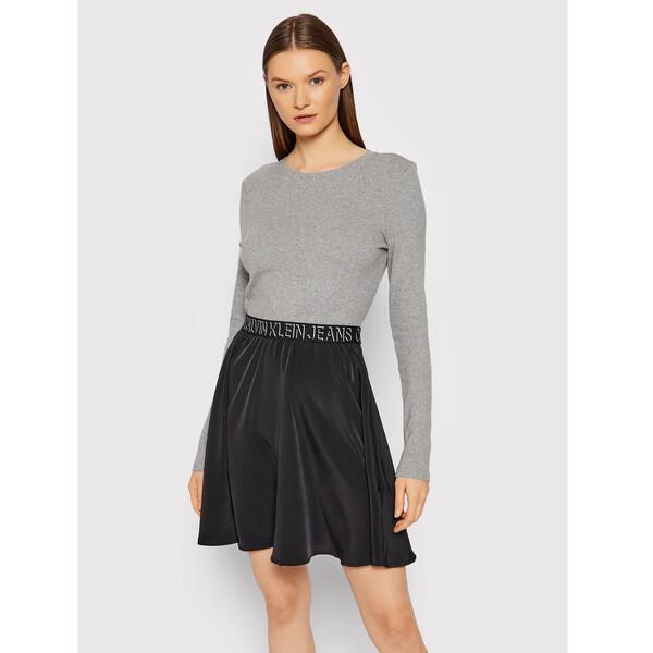 Calvin Klein Jeans Sukienka dzianinowa J20J216717 Szary Regular Fit
