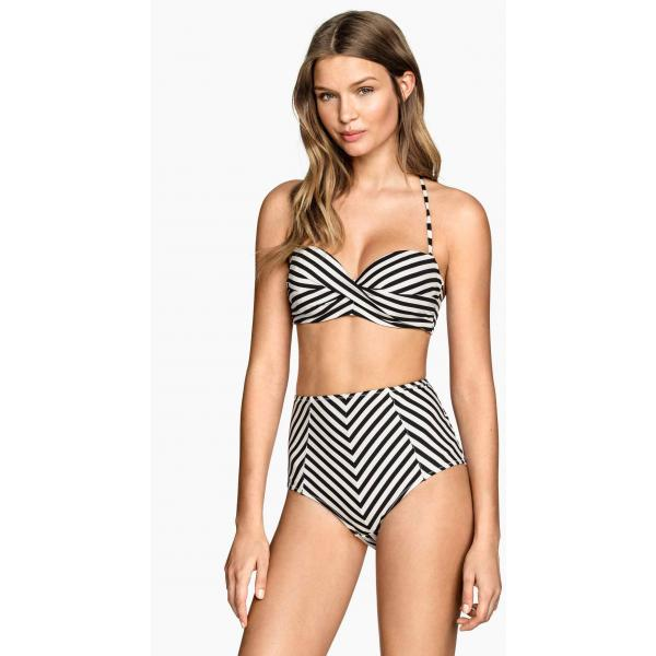 H&M Dół od kostiumu High waist 0257010013 Czarny/Paski