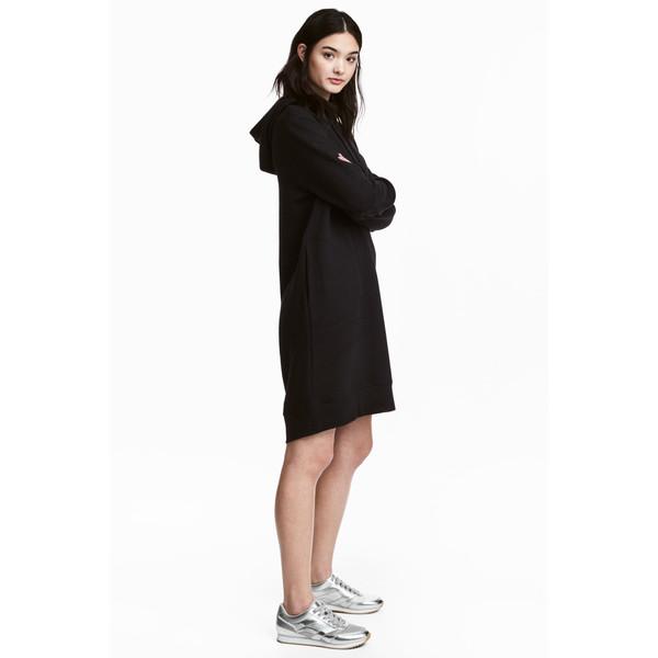 H&M Dresowa sukienka z kapturem 0485045008 Czarny