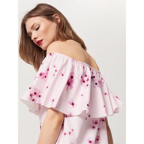 Mohito Sukienka w kwiaty z falbaną RQ227-03X
