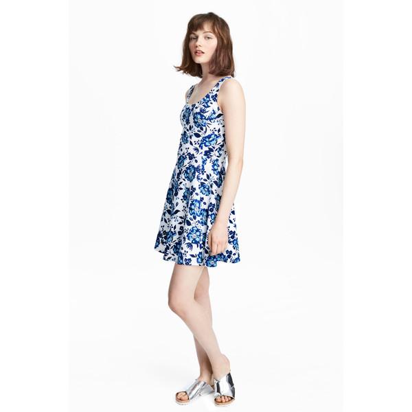 6afc7c7412 H M Dżersejowa sukienka 0467302061 Biały Kwiaty - MojeSukienki.pl