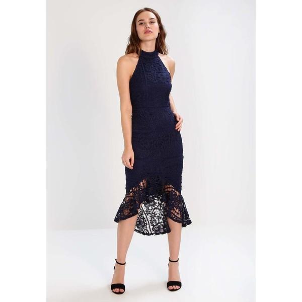 Missguided HIGH NECK FISHTAIL Długa sukienka navy M0Q21C0D8