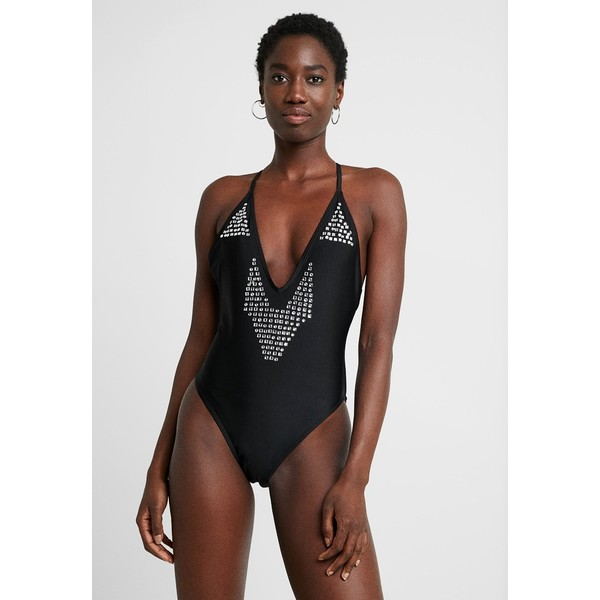 Missguided PLACEMENT SWIMSUIT Kostium kąpielowy black M0Q81G013