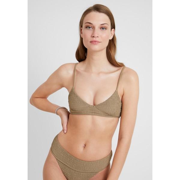 Topshop LONGLINE SHIRRED CROP Góra od bikini khaki TP781J01Q
